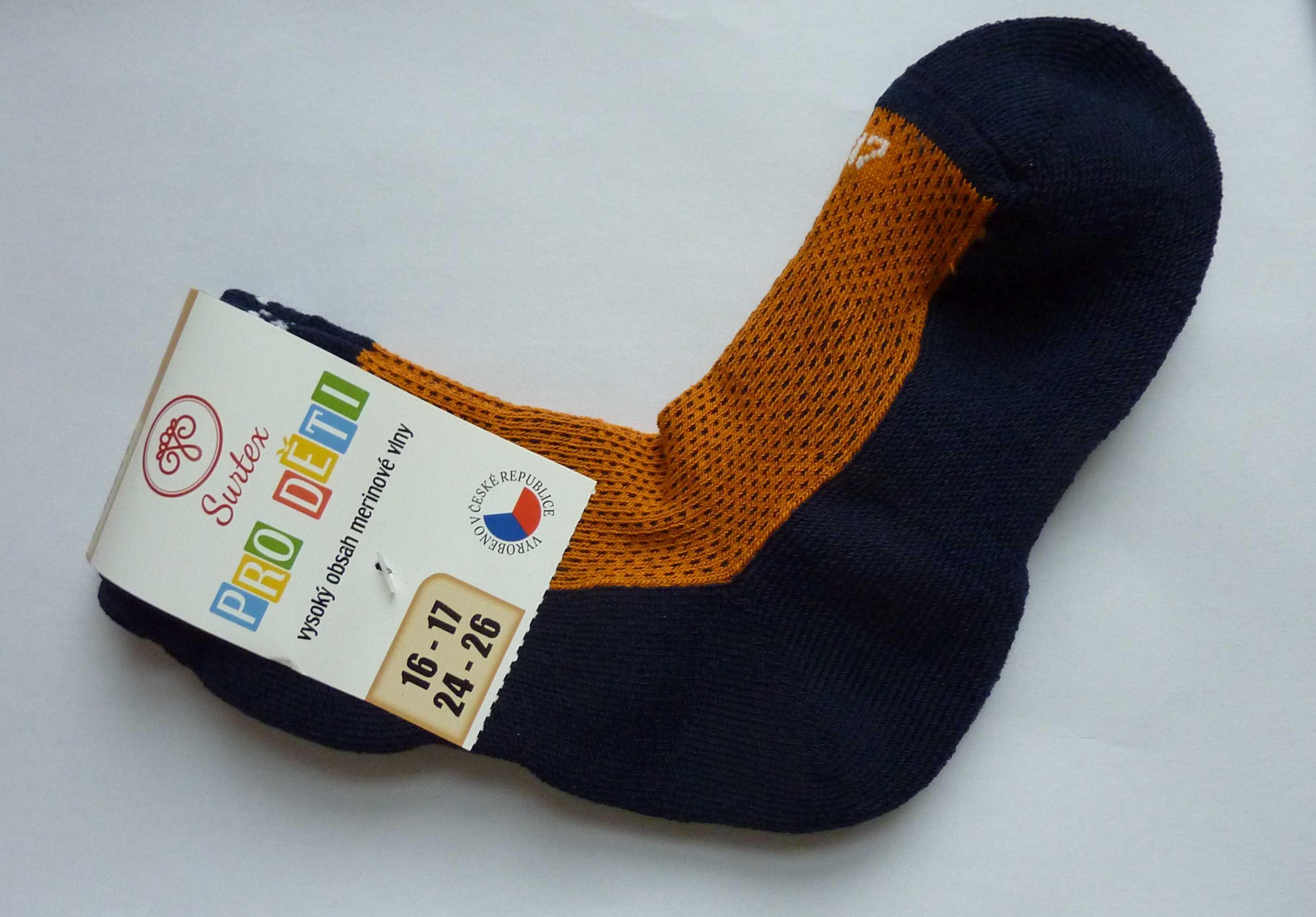 tenké ponožky Surtex froté 80% merino barevné dětské. Hřejivé sportovní ... e5f0dac680